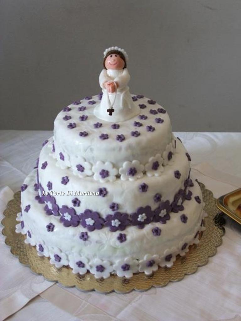 Torta prima comunione bambina le torte di marilena for Decorazione torte prima comunione