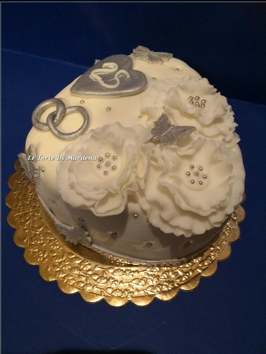 Torta nozze d 39 argento le torte di marilena for Anniversario di matrimonio 25