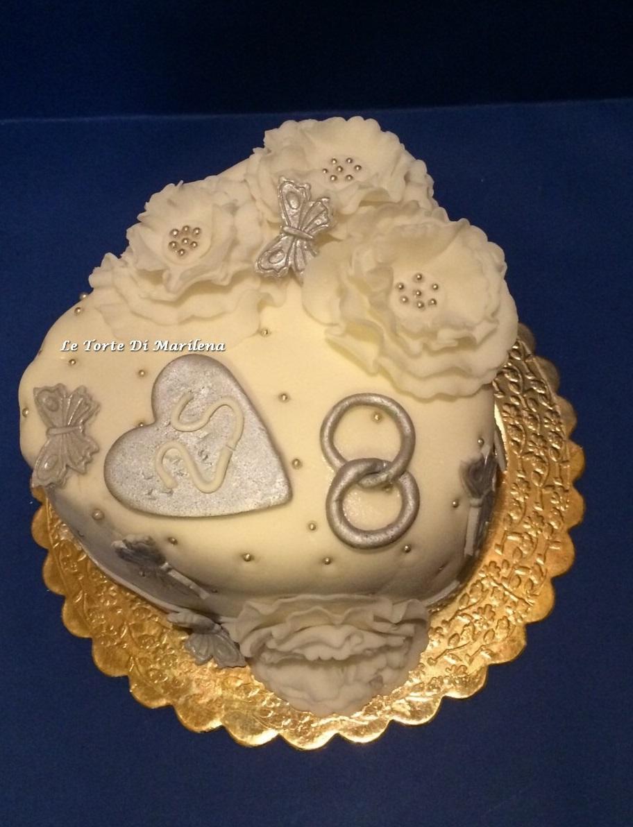 Torta nozze d 39 argento le torte di marilena for Anniversario matrimonio 25